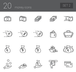 A simple set of icons symbolizing coin, finance, banking and business. Set 2