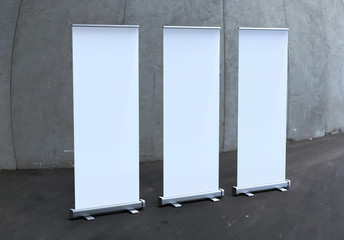 White blank empty high resolution Business Roll Up and  Standee Banner display mock up Template for your Design Presentation.