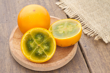 Lulo tropical fruit (Solanum quitoense)