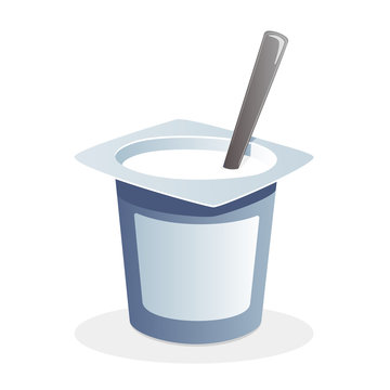 Natural yogurt with spoon inside on white background