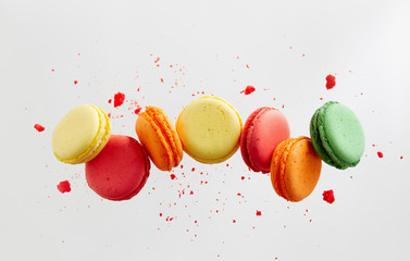 Photo sur Plexiglas Macarons Colorful macarons cakes. Small French cakes.