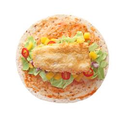 Tasty fish taco on white background