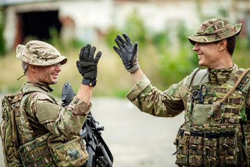 Soldier shaking hands on outdoor