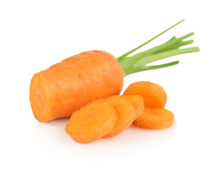 Fresh carrot with slices on white background