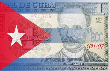 1 Cuban peso and Cuban flag