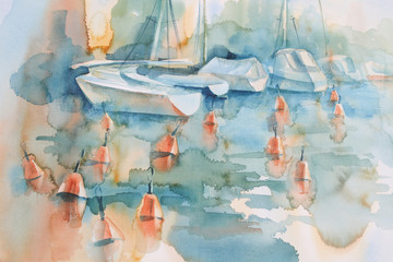 Boats and buoys watercolor background