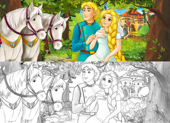 Cartoon scene with cute royal charming couple on the meadow - beautiful manga girl - with coloring page - illustration for children
