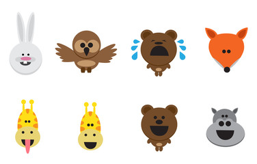 Different animal icons in flat style