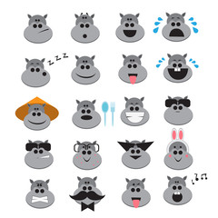 20 Hippo icons expressing different emotions