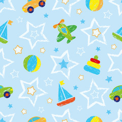 Abstract seamless pattern for girls, boys, clothes. Creative vector background with ball, geometric figures, stars, cars, aircraft.Funny wallpaper for textile and fabric.Fashion style.Colorful bright.