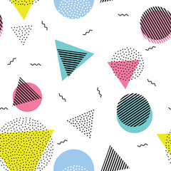 Triangle circle abstract geometric vector seamless pattern background wallpaper