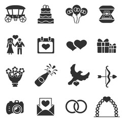 Wedding, monochrome icons set