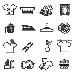 laundry, monochrome icons set. Washing clothes, simple symbols collection