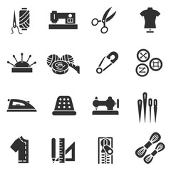Tailoring and dressmaking, monochrome icons set. collection of paraphernalia for sewing and needlework.