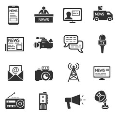 Mass media, monochrome icons set. Broadcast media collection