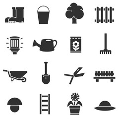 Garden. Monochrome icons set.
