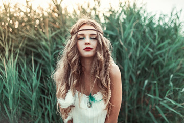 Beautiful boho hippie woman .