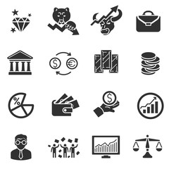 Stock exchange and finance. Monochrome icons set. Equity market, simple symbols collection