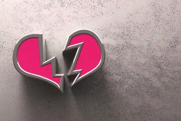 Heart broken pink on gray background - love concept. 3D illustration.