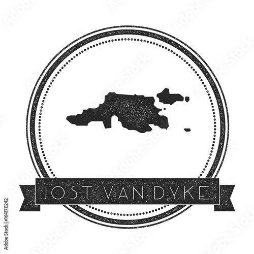 Jost Van Dyke map stamp Retro distressed insignia Hipster round