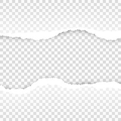 Ripped paper transparent template. EPS 10 vector