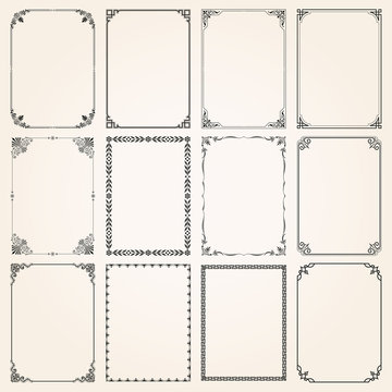 Decorative frames and borders rectangle proportions set 5