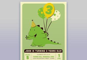 Child's Birthday Card with Dinosaur Illustration 1