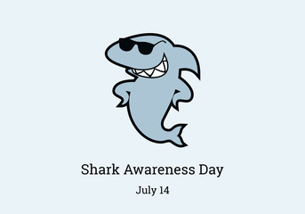 Shark Awareness Day vector. Shark cartoon character. Important day