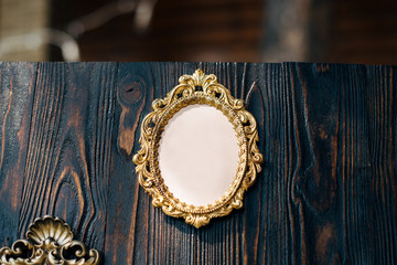 frames for gests list on wooden background