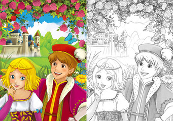 Cartoon scene of loving couple - prince and princess - castle in the background - illustration for children - with coloring page