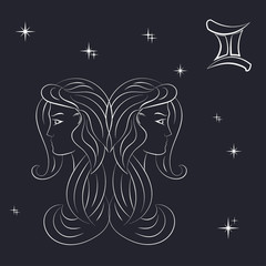 Sign of the zodiac Gemini is the starry sky