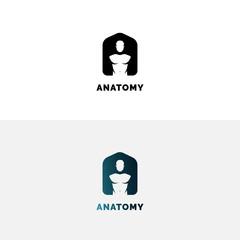 Anatomy logo with human torso. Negative space A letter logo.