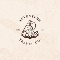 Anchor logo with treasure map in vintage style. Travel agency vector sign