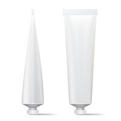 Tube Vector Mock Up. Clean Template. Blank Plastic Tube Of Cream, Shampoo, Tooth Paste, Glue. Isolated On White