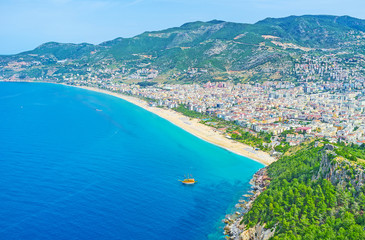 Panorama of Kleopatra beach in Alanya
