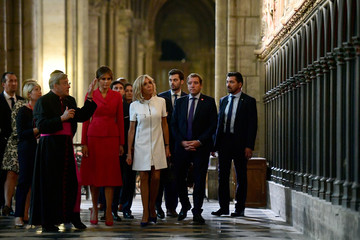 US First Lady Melania Trump and Brigitte Macron, wife of French President Macron, visit Notre Dame Cathedral in Paris