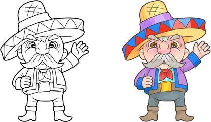 Cartoon funny Mexican book coloring book
