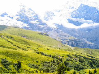 Landscape view of Swiss alps snow covered mountains and green hills