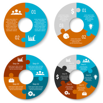 Vector circle puzzle for infographic. Template for cycling diagram, graph and round chart. Business concept with 2, 3, 4, 6 element, parts or steps.