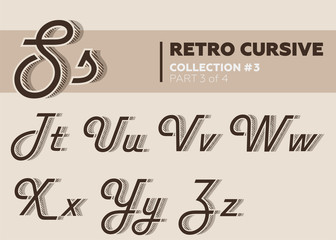 Retro Character Typeset. Vintage Layered Font with Striped Shadow. Coffee Color. Decorative Hand Drawn Cursive Font for Label, Poster, Banner. Old Movie Style.