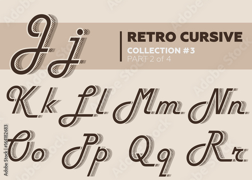 Vintage Layered Font With Striped Shadow Coffee Color Decorative Hand