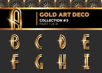 Vector Art Deco 3D Font. Shining Gold Retro Alphabet. Gatsby Style.