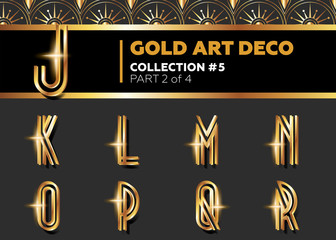 Vector Art Deco 3D Font. Shining Gold Retro Alphabet. Gatsby Style. Metallic Vintage Letters for Poster, Placard, Flyer, Party, Wedding Invitation, Banner.