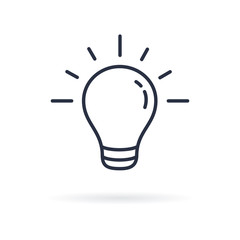 Pictograph of light bulb. Lamp line icon on white background.