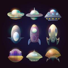 Alien spaceship disk or astronaut rocket.