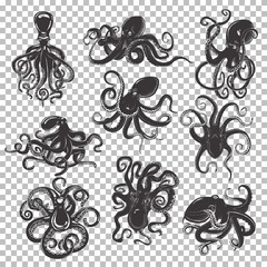 Set of isolated octopus mascot or tattoo