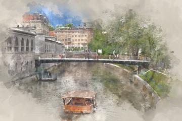 Boat on Ljubljanica river, Ljubljana, Slovenia, digital watercolor illustration