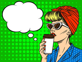 Young beautiful in retro style woman  with cup of coffee. Girl  in sunglasses of the European type with speech bubble on background of pop art style