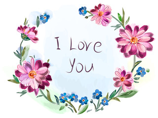 Greeting card from a bouquet of flowers