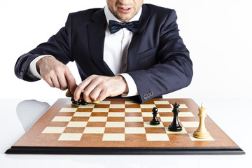 Chess. Businessman planing strategy